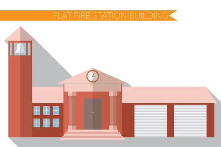 apartment bell: Flat design modern  illustration of fire station building icon, with long shadow.