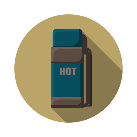 thermo: Flat design modern  illustration of thermo container icon, camping and hiking equipment with long shadow. Illustration