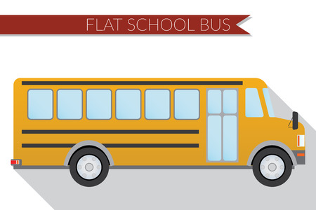 side view: Flat design  illustration city Transportation, school bus, side view .