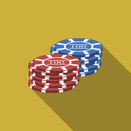 Flat design gambling chips icon with long shadow.