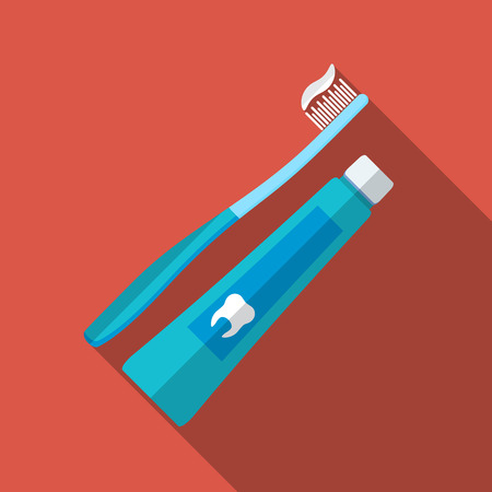 Flat design modern vector illustration of tooth brush and paste icon with long shadow.