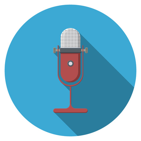 Flat design  microphone icon with long shadow, isolated.