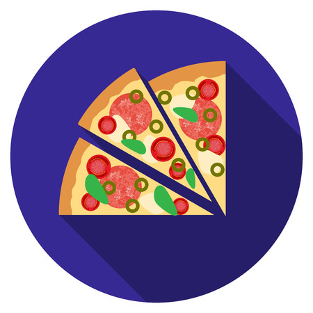 Flat design  pizza icon with long shadow, isolated.