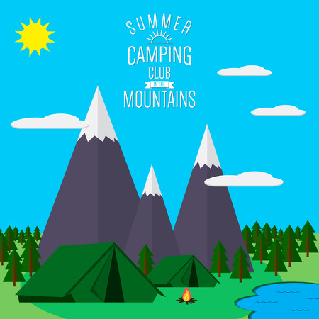 fire and ice: Mountains with forest and lake landscape flat  illustration, for camping and hiking, Extreme sports, outdoor adventure, with recreation place, tents and fire. Illustration