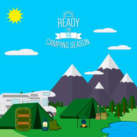 City and Mountains with forest and lake landscape flat  illustration, concept for holiday and vacation, camping and hiking, outdoor adventure, with recreation place, tents raft and RV.