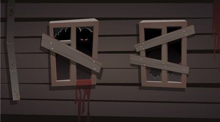 darkness: illustration with two window in old house. halloween concept. eyes in a darkness. blood on the wall