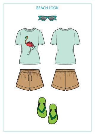 beach look set with shorts Stock Illustratie