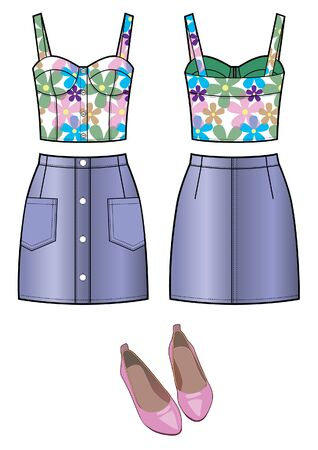 Summer outfit - top, jeans mini skirt, shoes, fashion set Stock Illustratie