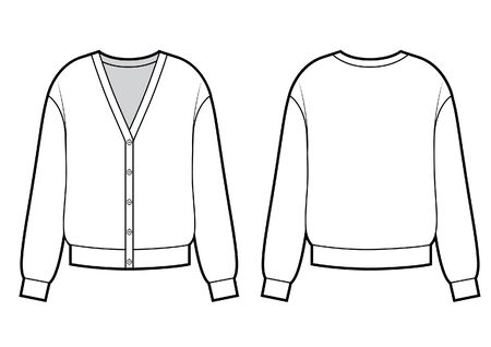 Vector illustration of woman's cardigan. Front and back views. Knitwear