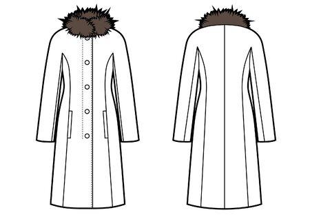 Winterjacke mit Fellkragen Skizze Vektorgrafik