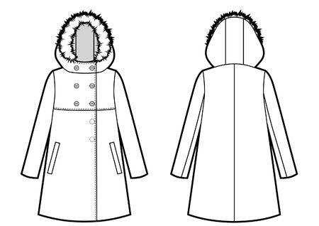 모피 후드 스케치가 있는 겨울 재킷 벡터 (일러스트)