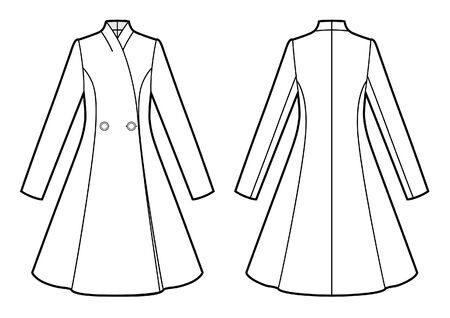 Vector illustration of women's coat. Front and back