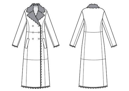 womans elegant sheepskin coat sketch