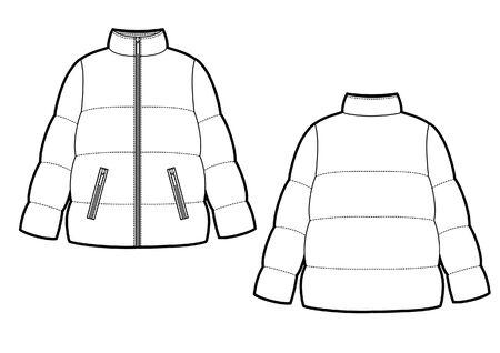 Vector illustration of women's winter down coat