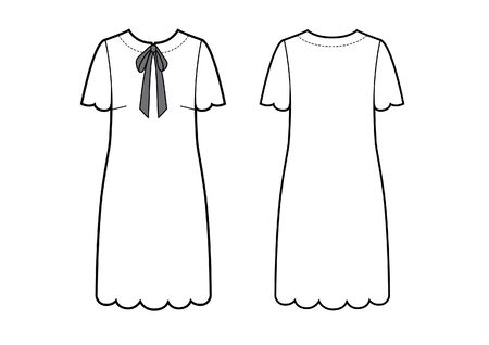 Fashion drawing of the dress with bow