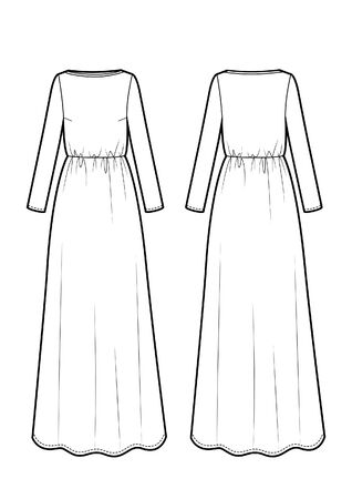 Vector illustration of maxi dress. Front and back. Women's clothes