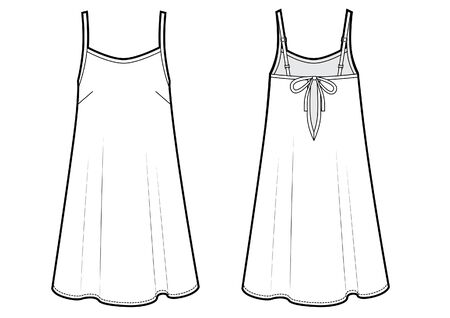 underwear dress vector technikal sketch Ilustração