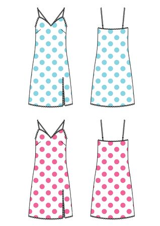 underwear set of dress vector with polka dot print Illustration