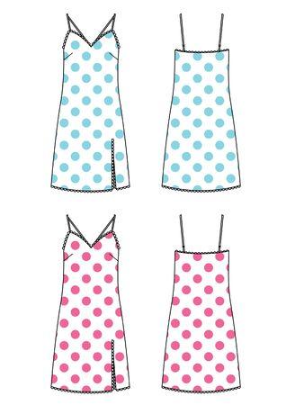 underwear set of dress vector with polka dot print Ilustração