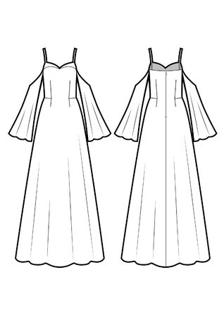 Vector fashion illustration. Dress for special event. 矢量图像