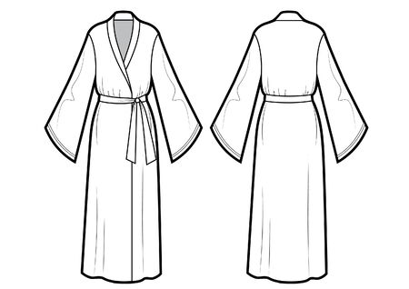 Vector illustration of bathrobe. Front and back views