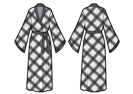 Vector illustration of chackered bathrobe. Front and back views