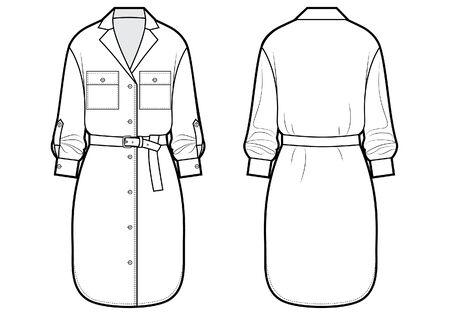 shirt dress with technical vector sketch