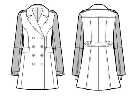 Vector illustration of women's double-breasted trench coat. Front and back views Vectores