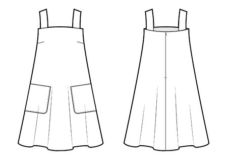 wide fit dress sketch. front and back