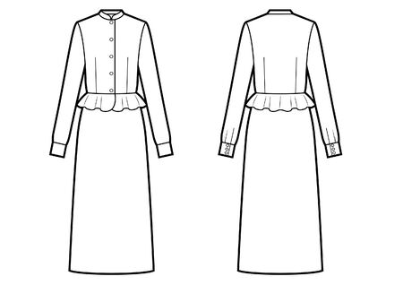 womans dress with basque sketch