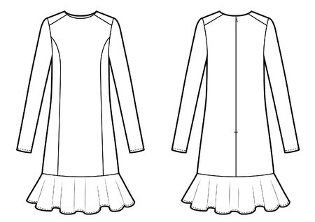 womans tight dress with frill Vector Illustration