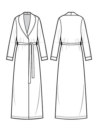 White bathrobe for women. Vector. Front and back.