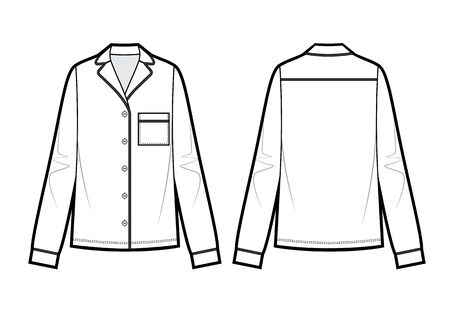 technical drawing of blouse Stock Vector - 139947668