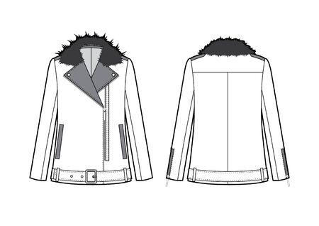 Women Moto Jacket with fur coat Vector Illustratie