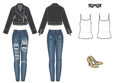 womans fashion look with leather jacket and jeans