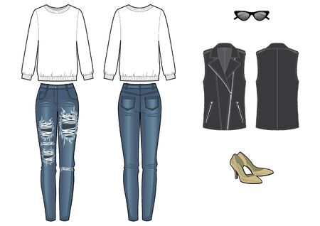 womans fashion look with sweetshirt and jeans