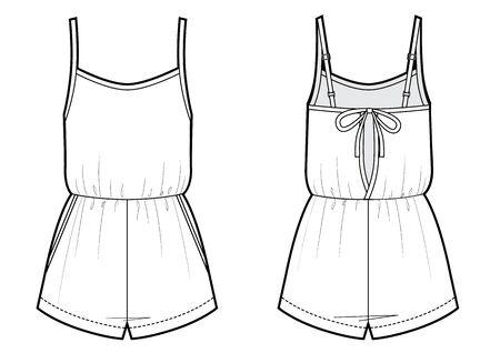 jumpsuit romper sketch. front and back Ilustração