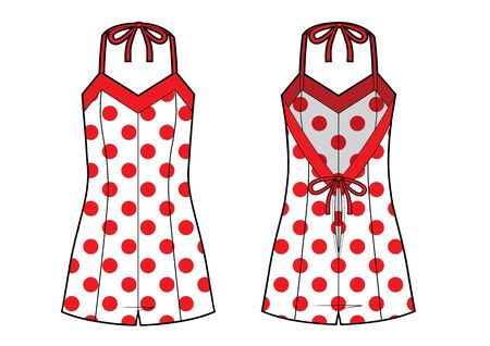 jumpsuit underwear sketch. red polka dots print. front and back 일러스트