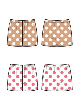 man underwear pants vector sketch, polka dot print