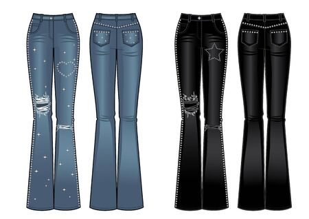 flared jeans with rhinestones, front and back