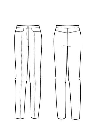 Vector illustration of women's skinny pants. Front and back views Ilustração