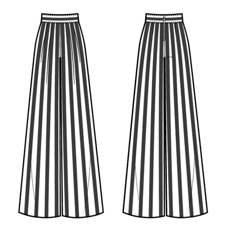 Vector illustration of womens wide striped pants. Front and back views Illustration