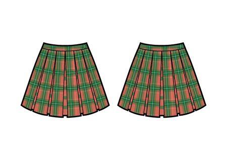 skirt fashion flat sketch. skirt with checkered print