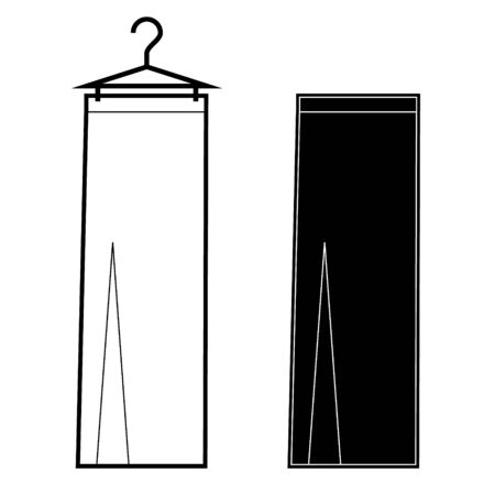 maxi skirt vector line icon, sign.