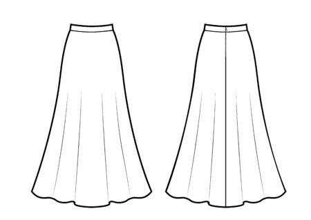 Dibujo en blanco y negro de falda maxi, ilustración de vectores aislado sobre fondo blanco.