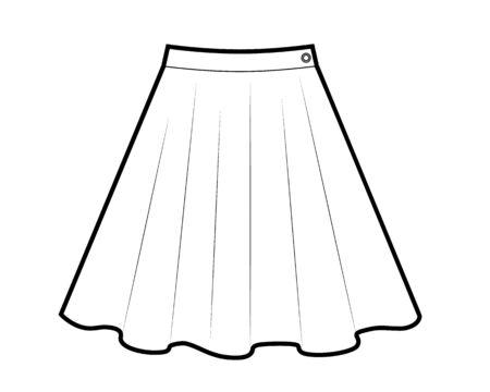 Dessin de mini jupe en noir et blanc, illustration vectorielle isolée sur fond blanc.