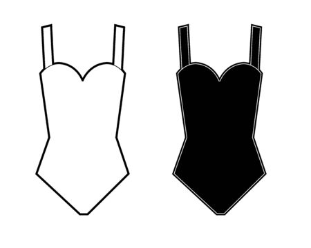 Woman`s swimsuit sign. Vector. Black and white icons. Illustration