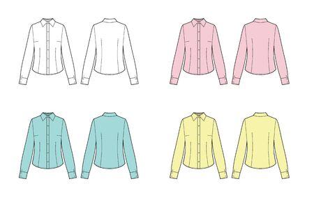 set of formal long sleeved blouses for lady. Vector illustration.