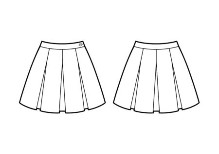 school skirt with four folds fashion flat sketch. front and back view