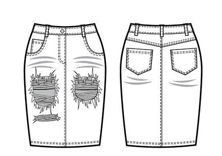 Vector illustration of womens jeans skirt. Front and back views